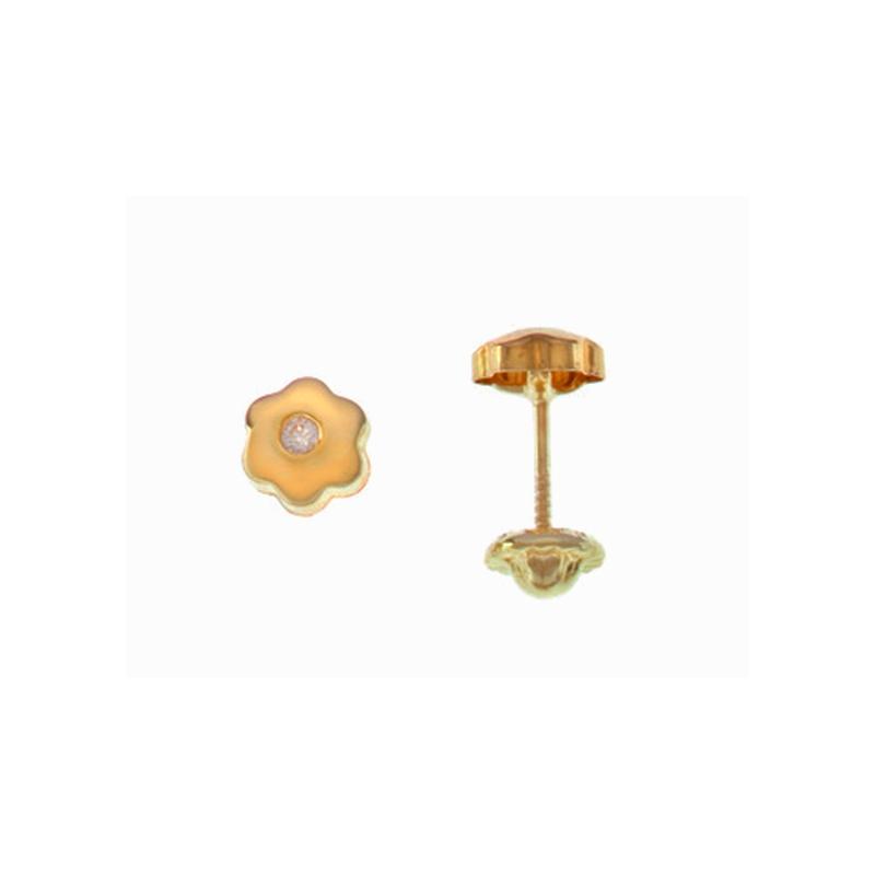 8683fda361e8 al mejor precio Topitos en oro de 18 quilates Bebe Flor Pequeños Circonita  1